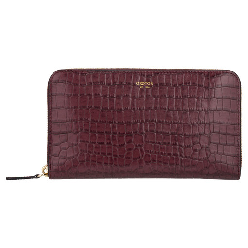 Oroton Forte Large Multi Pocket Zip Around Wallet in Dark Juniper and Two Tone Croco for female