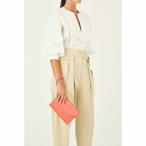 Oroton Avalon Envelope Clutch in Apricot and Pebble Leather for female