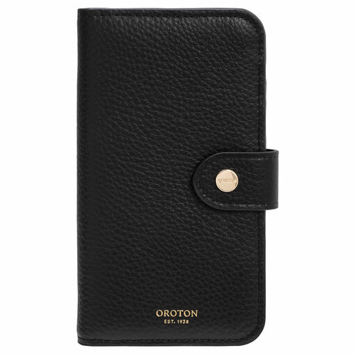 Oroton Lucy IPhone 11 Pro 5 Credit Card Zip Wallet in Black and Pebble Leather for female