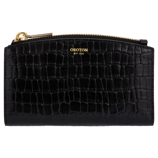 Oroton Atlas Texture 10 Credit Card Zip Wallet in Black and Two Tone Croco for female