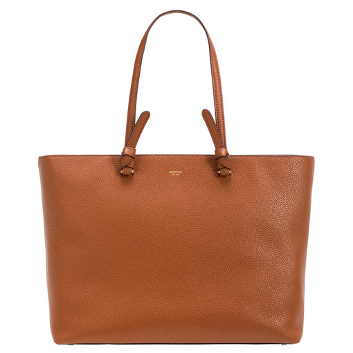 Oroton Atlas Shopper Tote in Cognac and Pebble Leather for female