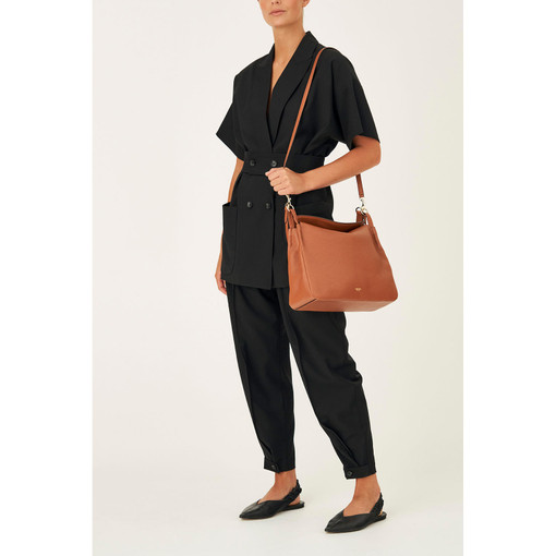 Oroton Byron Large Hobo in Cognac and Pebble Leather for female