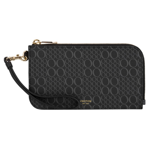 Oroton Harriet Signature Phone Wristlet Wallet in Black and Print Saffiano Texture PVC for female