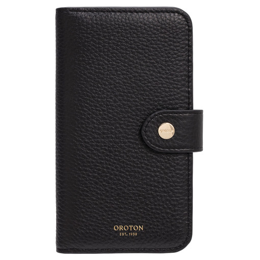 Oroton Lucy IPhone X 5 Credit Card Zip Wallet in Black and Pebble Leather for female