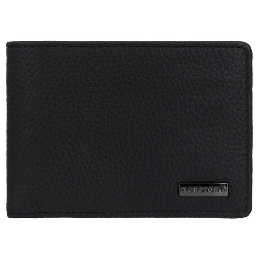 Oroton Otto 4 Credit Card Mini Wallet in Black and Pebble Leather for male