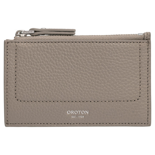 Oroton Lucy 4 Credit Card Zip Pouch in Stone and Pebble Leather for female