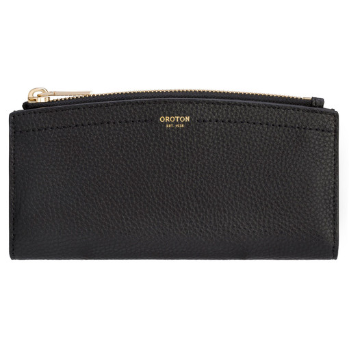 Oroton Atlas 12 Credit Card Zip Wallet in Black and Pebble Leather for female