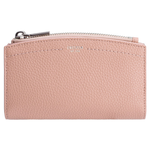 Oroton Atlas 10 Credit Card Zip Wallet in Biscuit and Pebble Leather for female