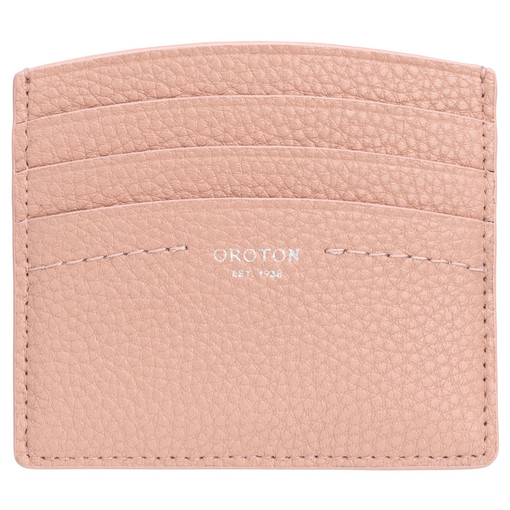 Oroton Atlas Credit Card Sleeve in Biscuit and Pebble Leather for female