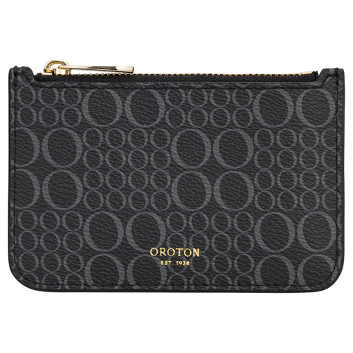 Oroton Harriet Signature Credit Card Holder in Black and Print Saffiano PVC for female