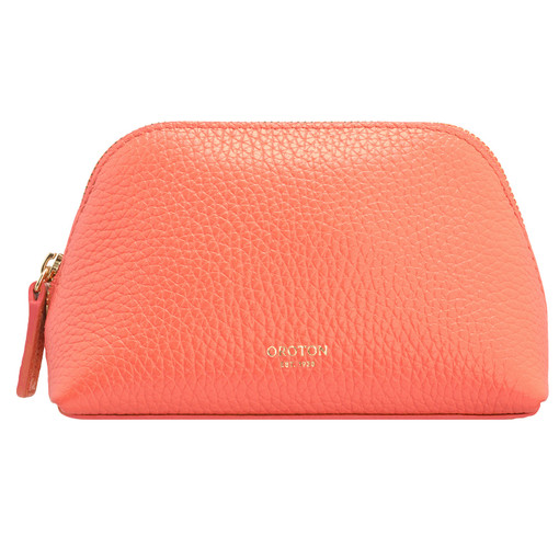 Oroton Avalon Small Beauty Case in Apricot and Pebble Leather for female