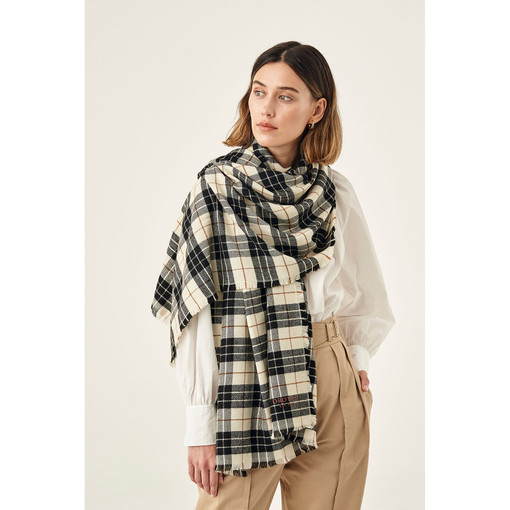 Oroton Harriet Print Wrap Scarf in Black/Cream and 40% Acrylic, 33% Viscose, 20% Nylon And 7 % Wool for female