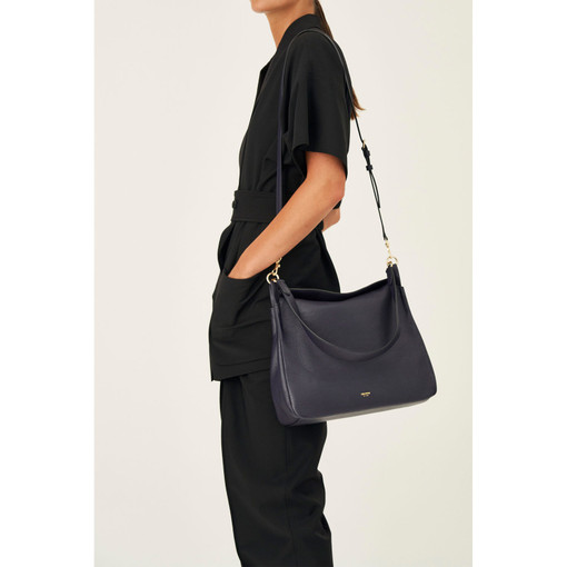 Oroton Byron Large Hobo in Midnight Blue and Pebble Leather for female