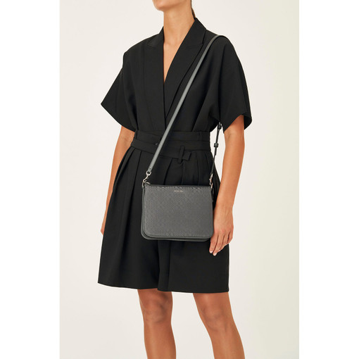 Oroton Signet Crossbody in Charcoal and Signet Jacquard Fabric/Vachetta for female