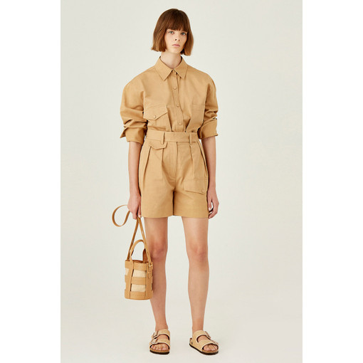 Oroton Cotton-Linen High Waisted Utility Short in Camel and 79% Cotton 21% Linen for female