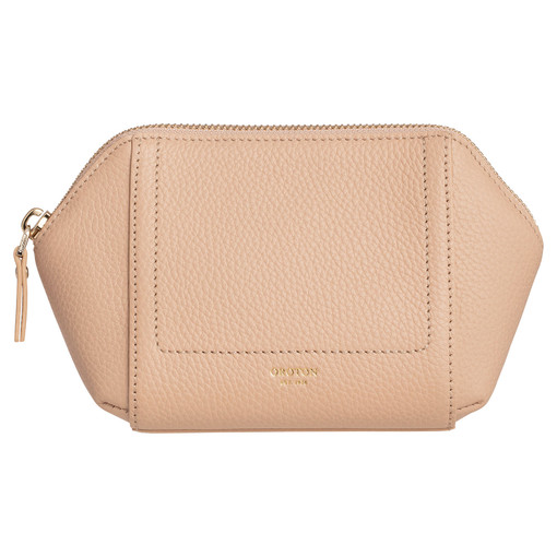 Oroton Lucy Small Beauty Case in Praline and Pebble Leather for female