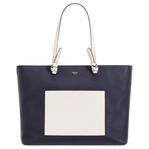 Oroton Atlas Shopper Tote in Midnight Blue and Pebble Leather for female