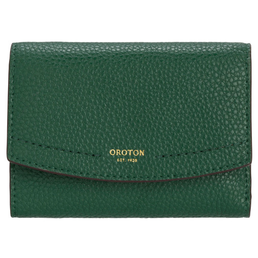Oroton Atlas Small Tri Fold Wallet in Emerald and Pebble Leather for female