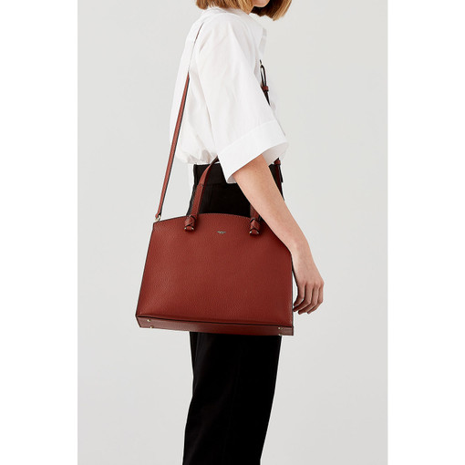 Oroton Atlas Day Bag in Rust and Pebble Leather for female