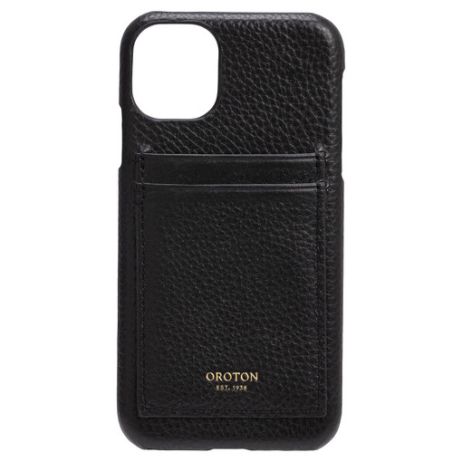 Oroton Lucy IPhone 11 2 Credit Card Cover in Black and Pebble Leather for female