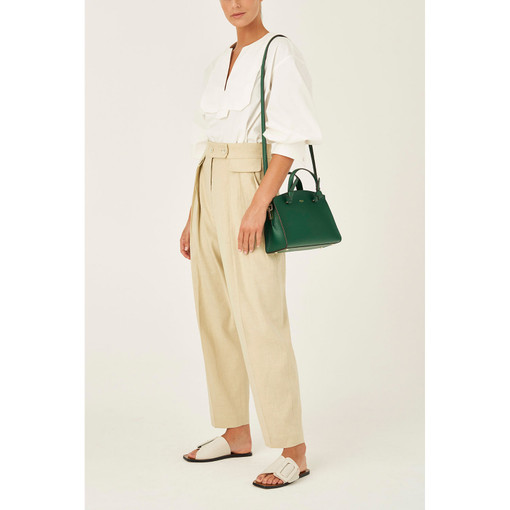 Oroton Atlas Small Day Bag in Emerald and Pebble Leather Fused With Saffiano Leather for female
