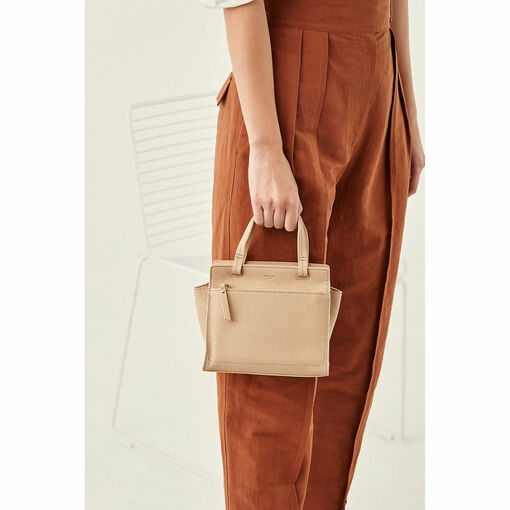 Oroton Lucy Mini Tote Crossbody in Praline and Pebble Leather for female