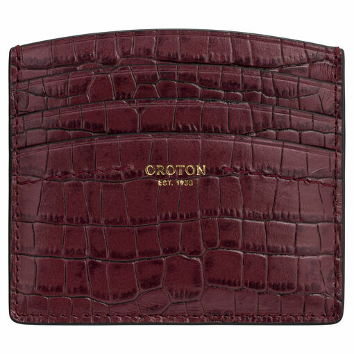 Oroton Atlas Texture Credit Card Sleeve in Dark Juniper and Two Tone Croco for female