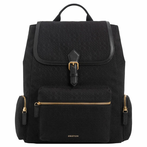 Oroton Signet Baby Backpack in Black and Signet Jacquard Fabric/ Vachetta for female