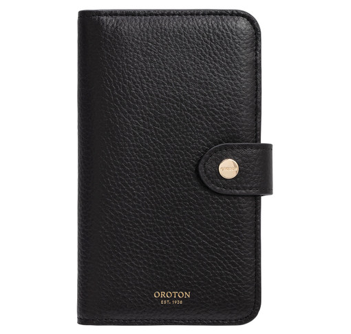 Oroton Lucy IPhone 11 6 Credit Card Zip Wallet in Black and Pebble Leather for female