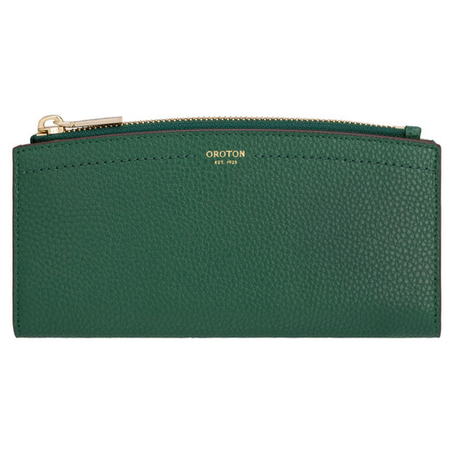Oroton Atlas 12 Credit Card Zip Wallet in Emerald and Pebble Leather for female