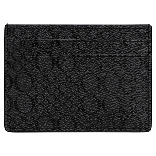 Oroton Harry Signet Credit Card Sleeve in Charcoal and Print Saffiano Texture PVC for male
