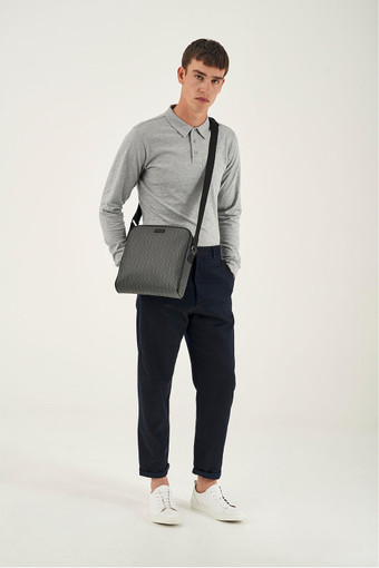 Oroton Harry Signet Zip Around A5 Satchel in Charcoal and Print Saffiano Texture PVC/ Smooth Leather Trims for male