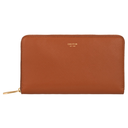 Oroton Inez Zip Book Wallet in Cognac and Shiny Soft Saffiano for female