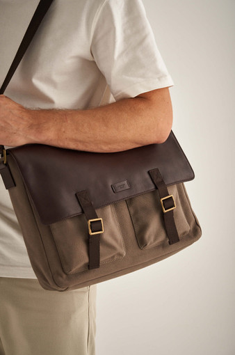 Oroton Kit EW Satchel in Khaki and Coated Canvas/ Smooth Leather for male
