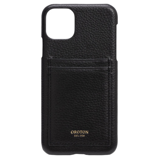 Oroton Lucy IPhone 11 Pro Max 2 Credit Card Cover in Black and Pebble Leather for female