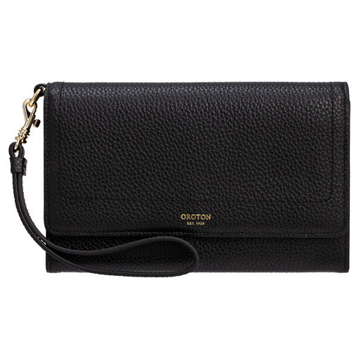 Oroton Lucy Clutch And Pouch in Black and Pebble Leather for female