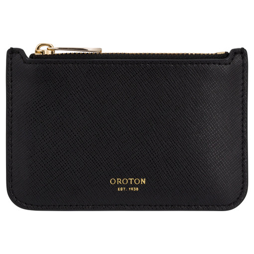 Oroton Harriet Credit Card Holder in Black and Shiny Soft Saffiano for female