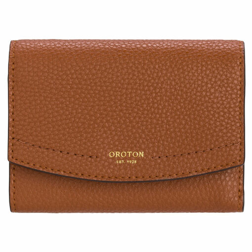 Oroton Atlas Small Tri Fold Wallet in Cognac and Pebble Leather for female