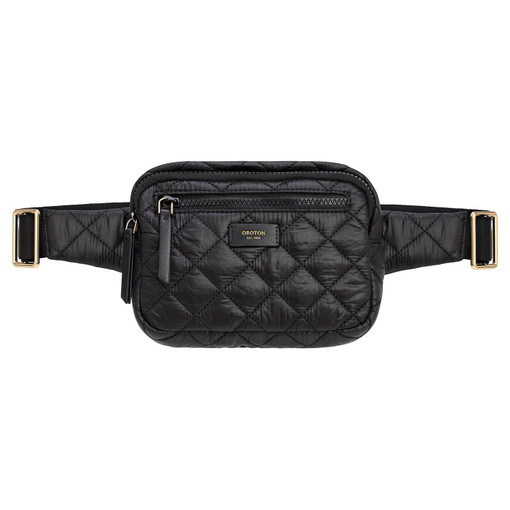 Oroton Cloud Belt Bag in Black and Quilted Nylon for female