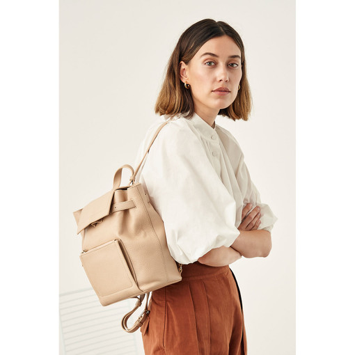 Oroton Lucy Small Backpack in Praline and Pebble Leather for female
