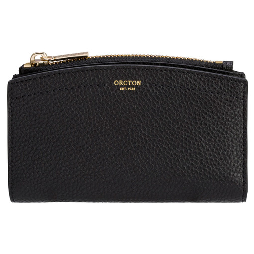 Oroton Atlas 10 Credit Card Zip Wallet in Black and Pebble Leather for female