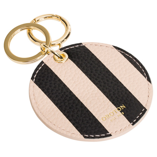Oroton Lucy Print Mirror Keyring in Black/Praline and Printed Pebble Leather/Plastic Mirror for female