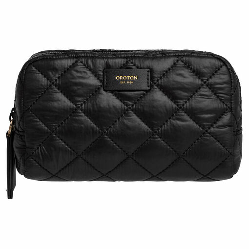 Oroton Cloud Small Toiletry Bag in Black and Quilted Nylon for female
