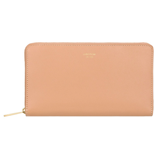 Oroton Inez Zip Book Wallet in Caramel and Shiny Soft Saffiano for female