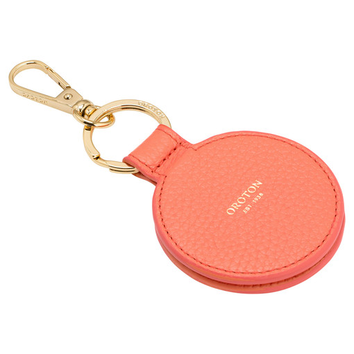 Oroton Avalon Mirror Keyring in Apricot and Pebble Leather for female