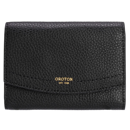 Oroton Atlas Small Tri Fold Wallet in Black and Pebble Leather for female