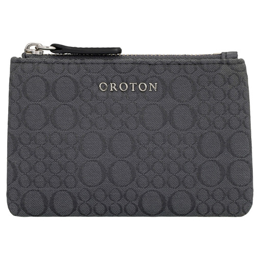 Oroton Signet Mini Zip Pouch in Charcoal and Signet Jacquard Fabric/Vachetta for female
