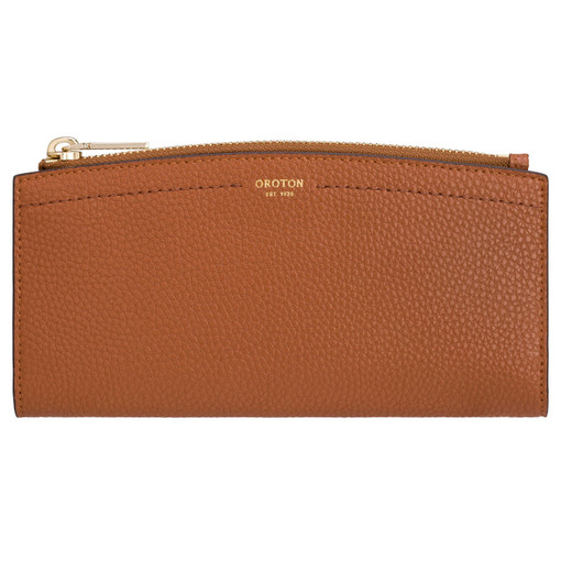 Oroton Atlas 12 Credit Card Zip Wallet in Cognac and Pebble Leather for female