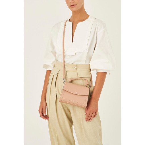 Oroton Atlas Small Satchel in Biscuit and Pebble Leather Fused With Saffiano Leather for female