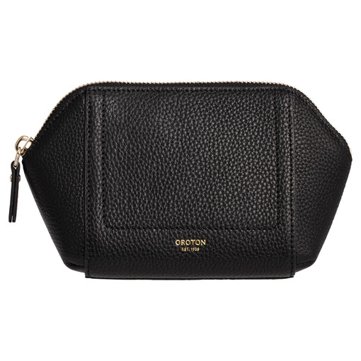 Oroton Lucy Small Beauty Case in Black and Pebble Leather for female